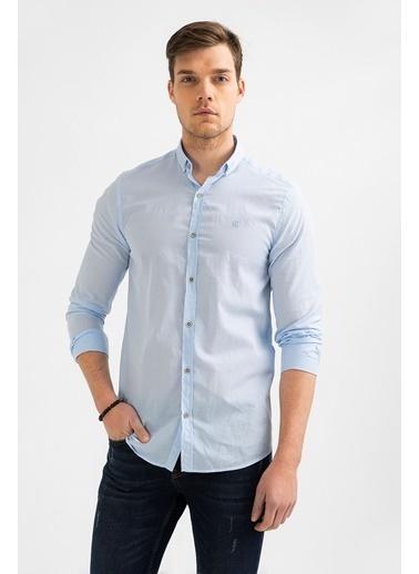 Avva Erkek  Düz Düğmeli Yaka Slim Gömlek A01S2206 Mavi